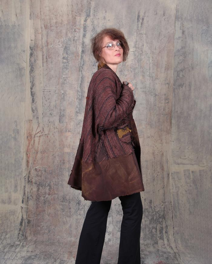 wovenleather oversized brown fall jacket