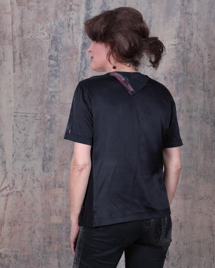 sculptural mixed textured black top
