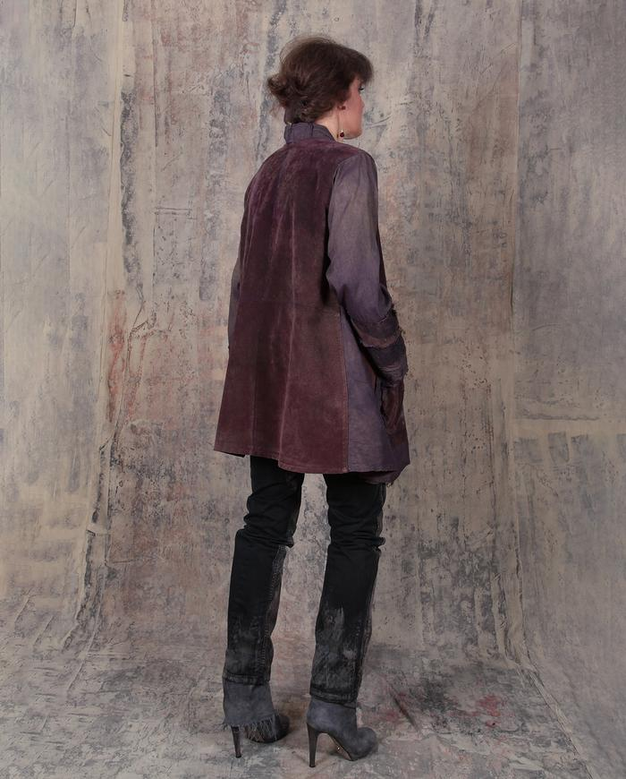 silk and leather burgundy hand-dyed oversized jacket