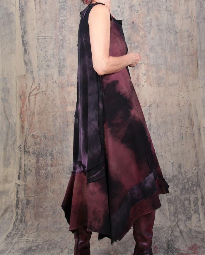 loose-fitting asymmetric hand-painted patchwork midi dress