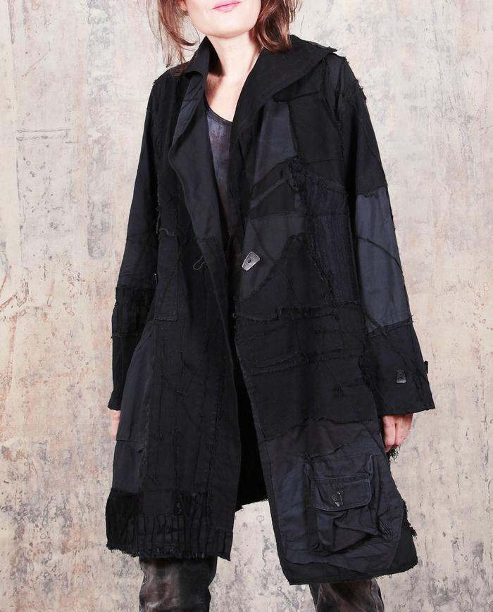 black on black edgy detailed heavier cotton jacket