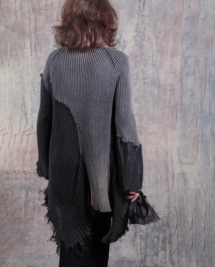 detailed distressed knitted heavier edgy cardigan/sweater