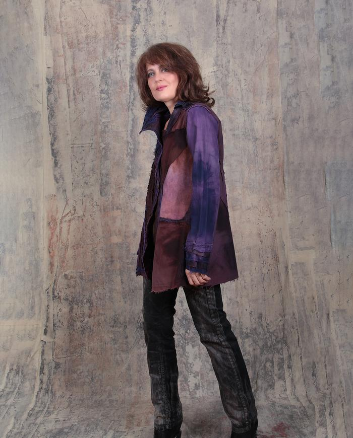 purple and cordovan detailed edgy jacket