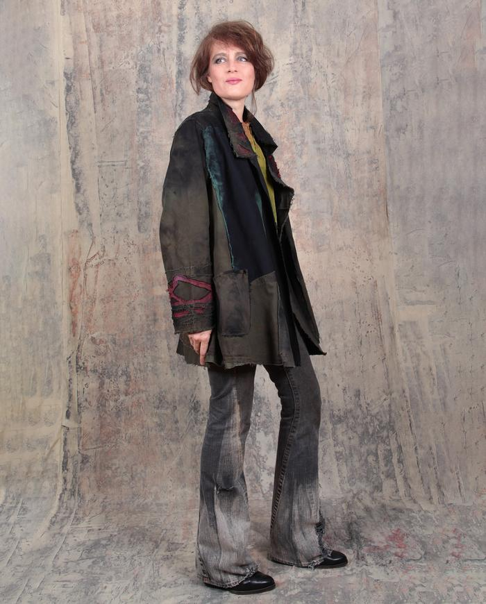 oversized dark colors holiday and beyond detailed jacket