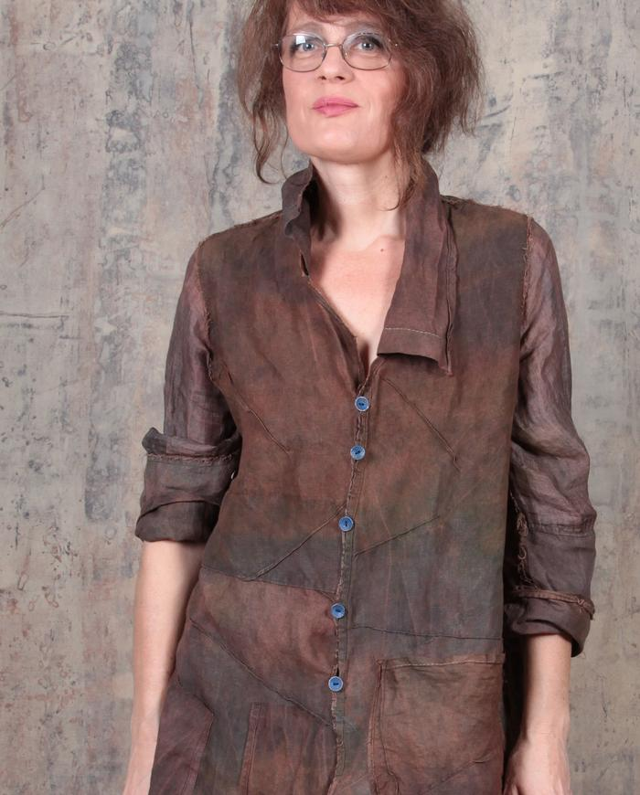 lightweight Belgian linen hand-dyed jacket in burnt umber