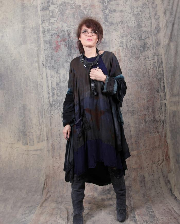 loose-fitting subtle patchwork dress or tunic