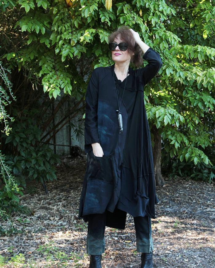 mostly black A-line long tunic or dress