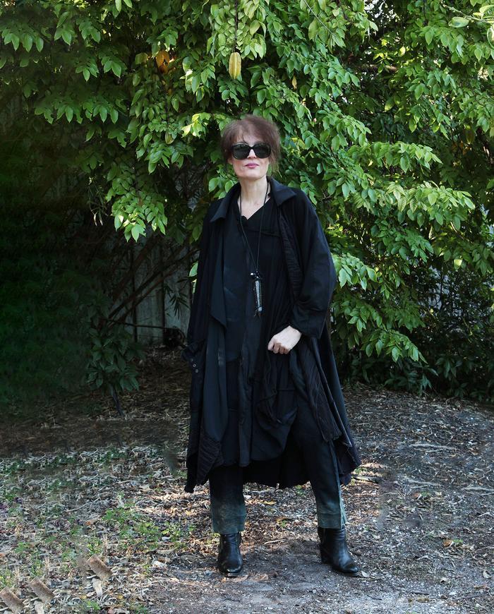 long oversized black on black patchwork swing coat/jacket