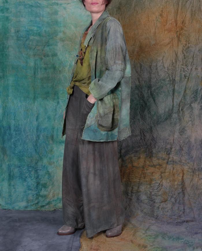 distressed 'veined leaves' Belgian linen lightweight jacket