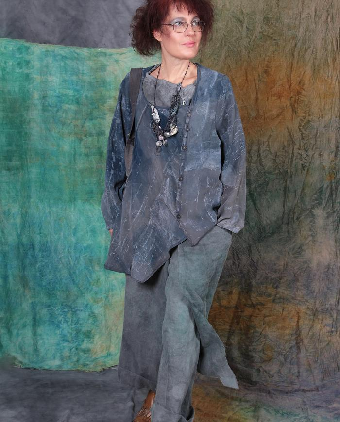 gray denim drapey silk asymmetrical one-size jacket-to-tunic