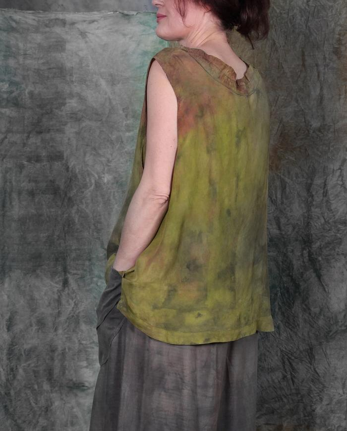 oversized lightweight silk overlay top in grass green
