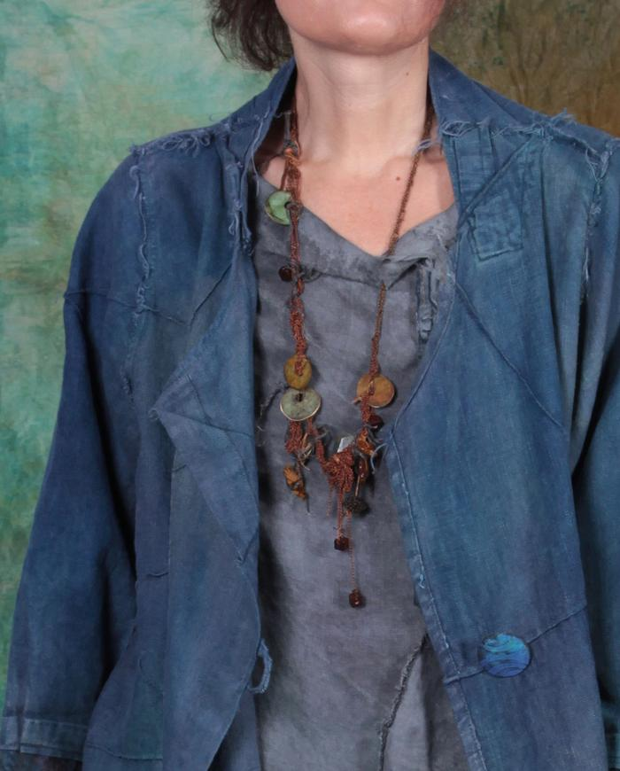 knitted copper chain 'rust and patina' beaded necklace