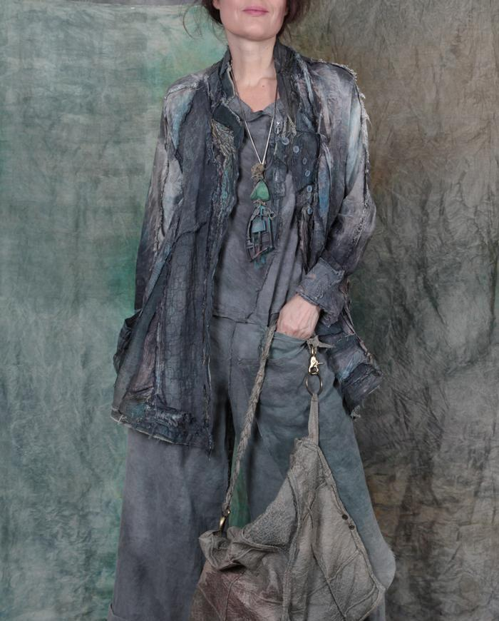 pure art antique silk and linen highly detailed jacket