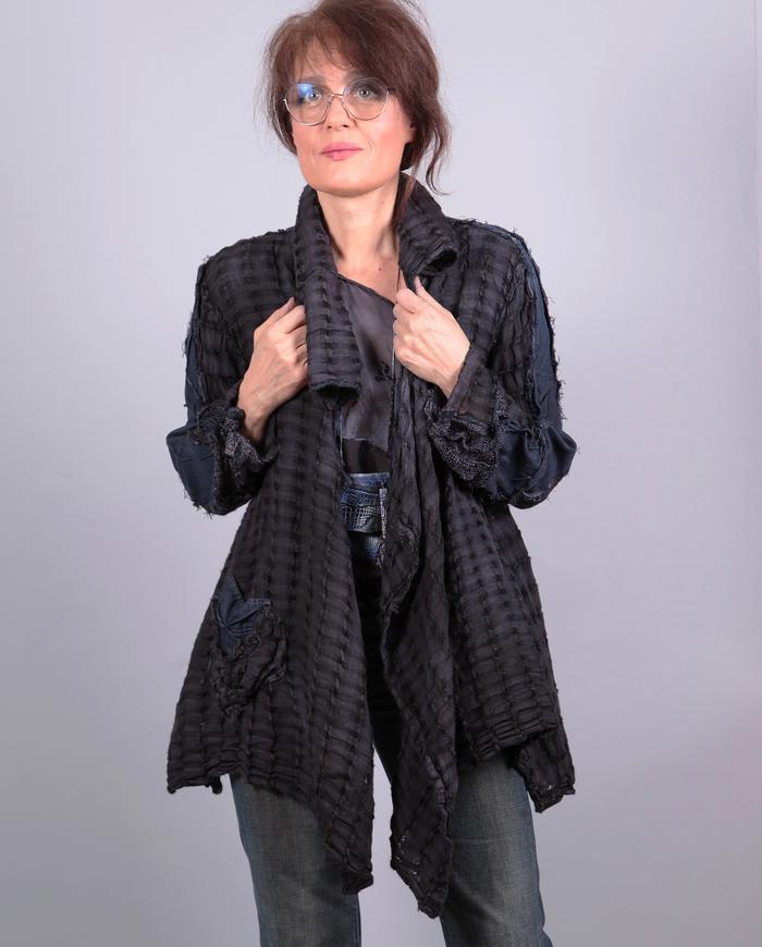 'deep purple' drapey textured one size jacket
