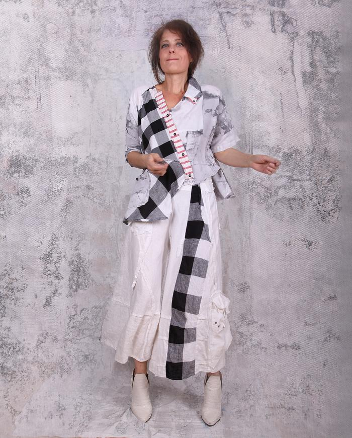 black and white patchwork asymmetrical layering top