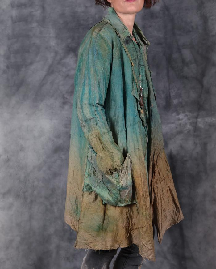 stonewashed look hand-painted crushed silk jacket