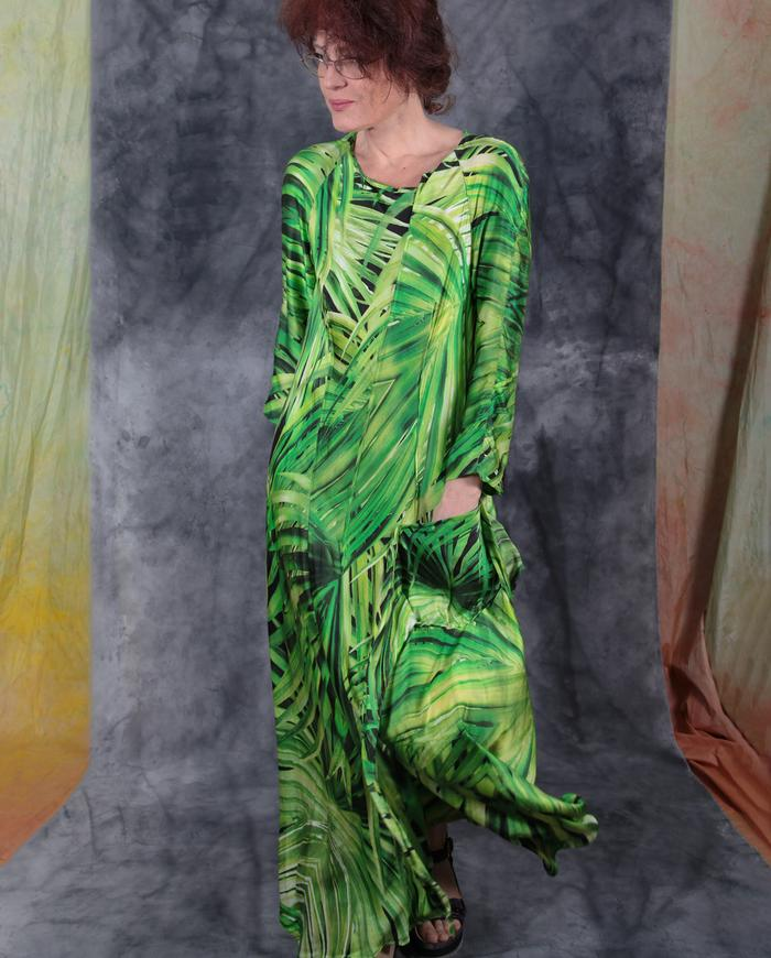 'tropical paradise' mulberry silk maxi dress