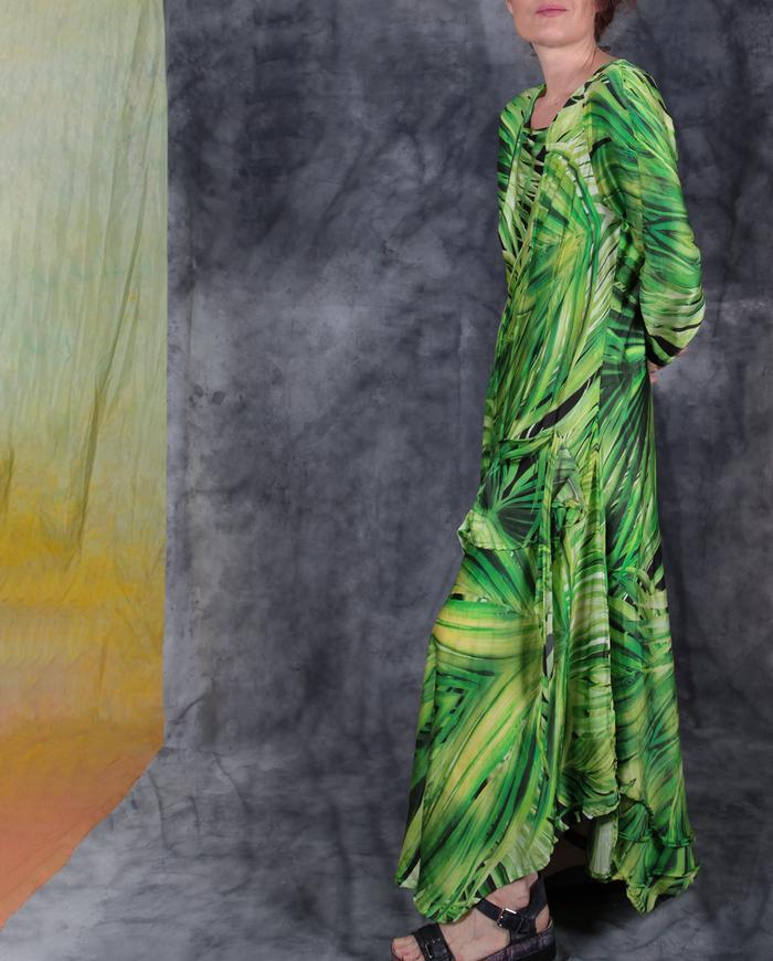 'tropical paradise' mulberry silk maxi dress