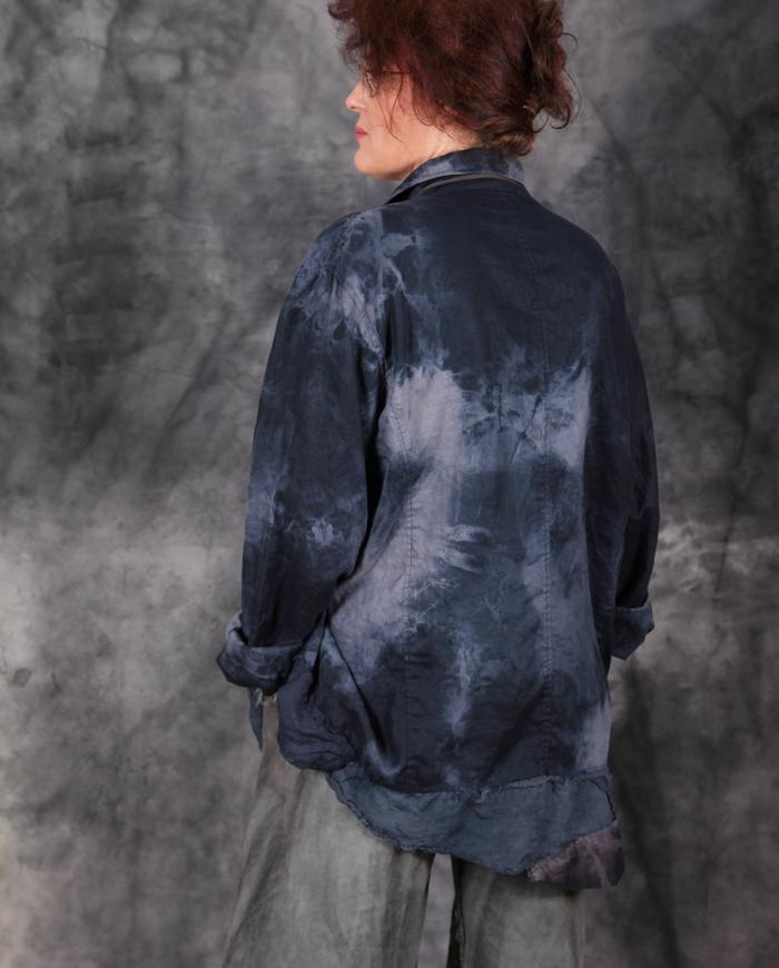 loose-fitting oversized hand-painted patchwork European linen top