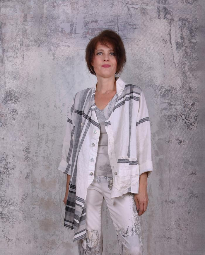 asymmetrical plaid/white button-down back lagenlook shirt/jacket