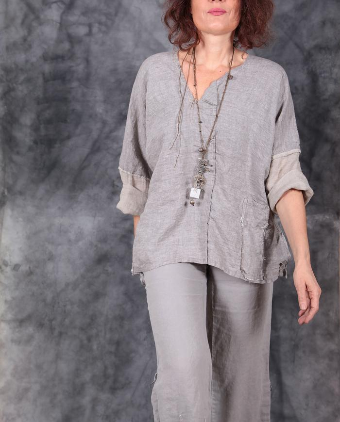 natural shade Belgian flax relaxed top and necklace