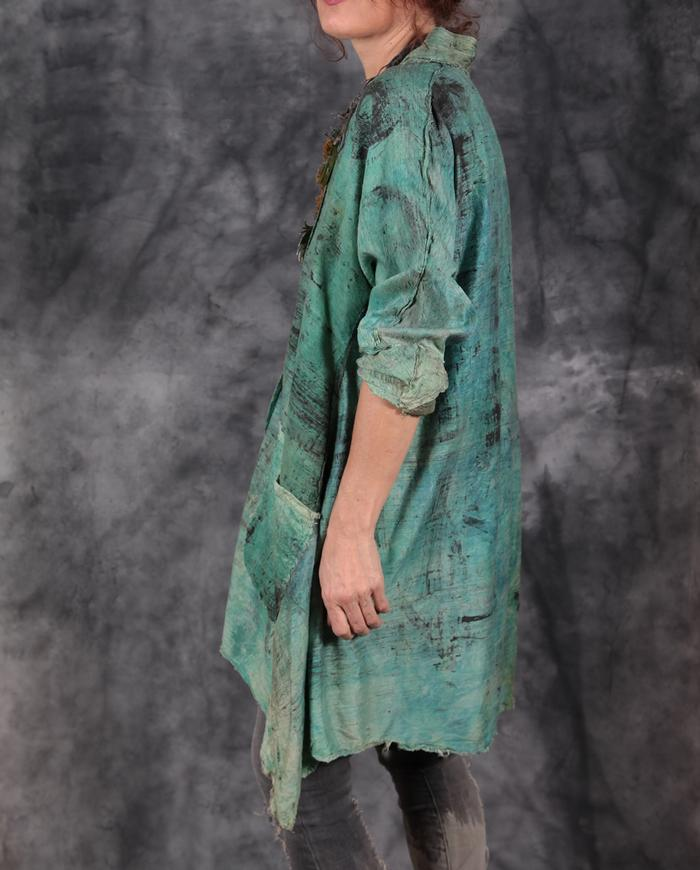 hand-painted distressed woven silk layering tunic in mint green