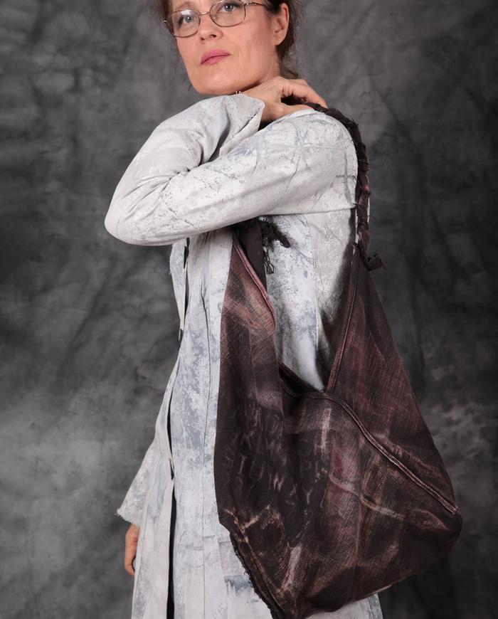 hand-printed distressed canvas shoulder purse