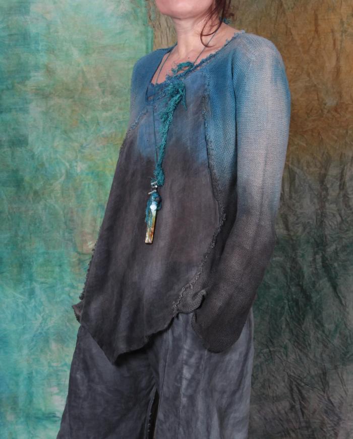 hand-painted lightweight linen top