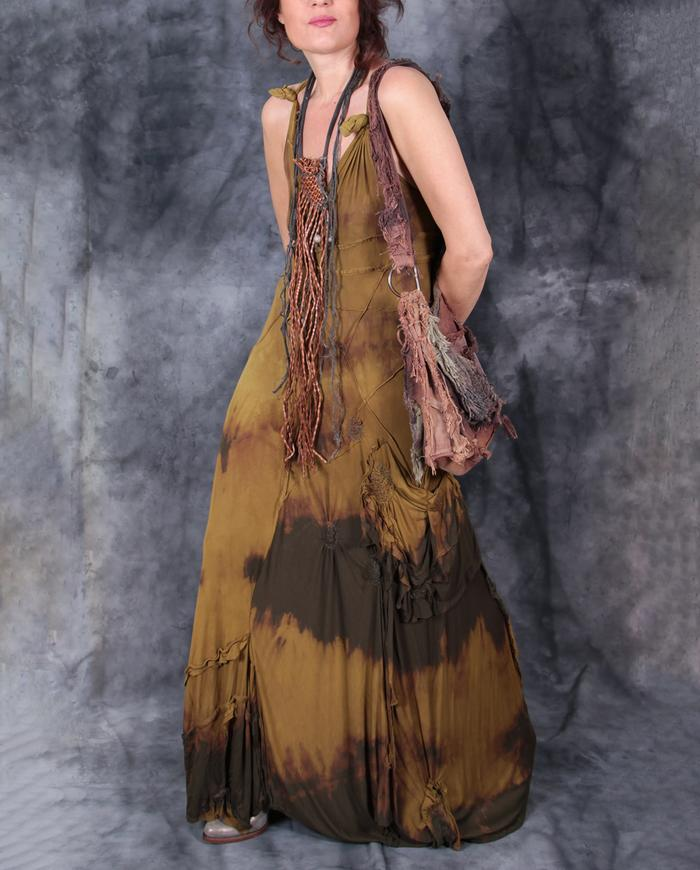stretchy knit golden olive maxi sundress