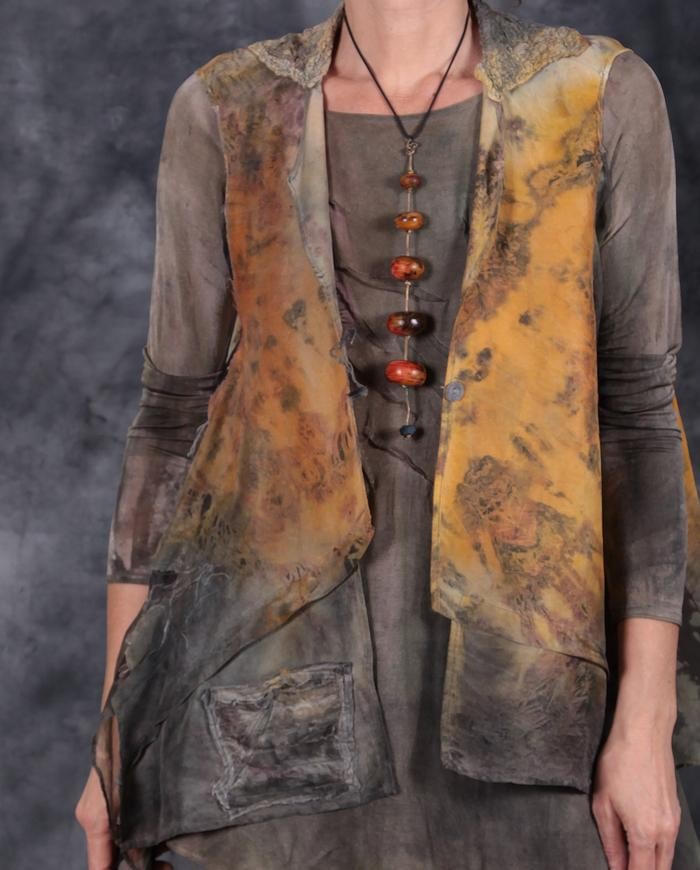 'a pocket of sunshine' sculptural loose-fitting layering silk top or vest, necklace and top