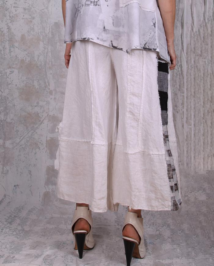 cropped wide leg b&w checks linen pants