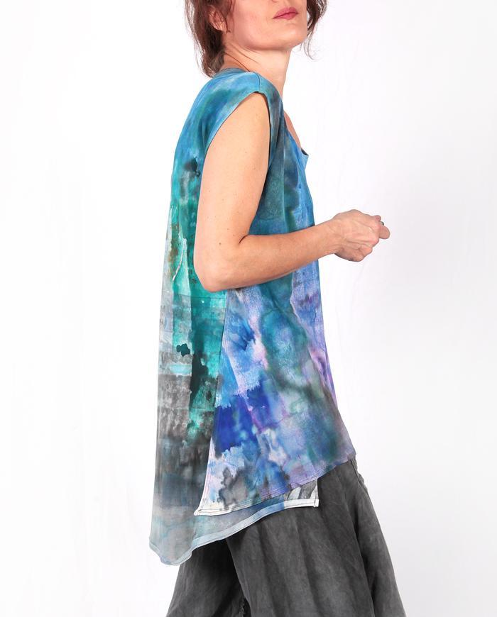 asymmetrical jewel tones loose-fitting layering top