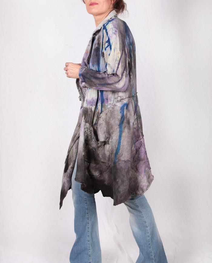 double bubble gauze textured drapey painted jacket