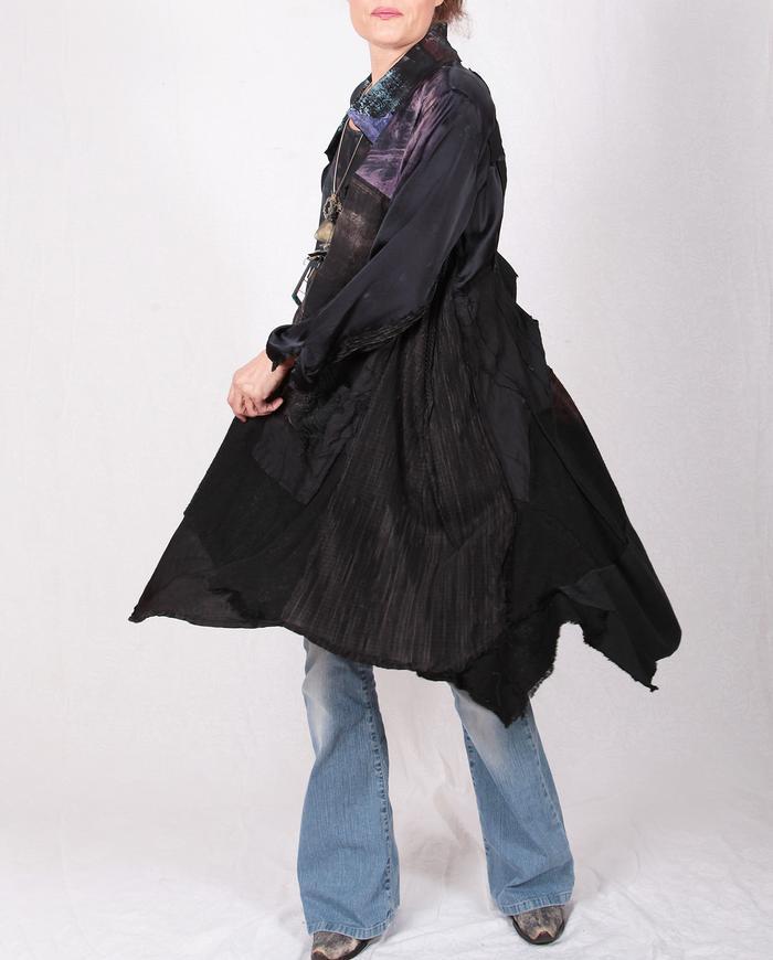mixed fabrics cutout back mostly black drapey jacket