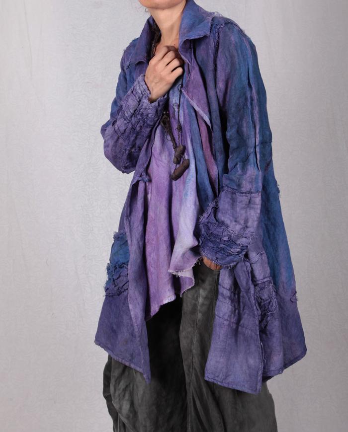 'purple explosion' detailed Belgian linen jacket
