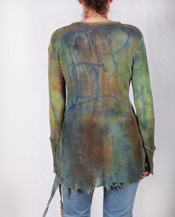 hand-painted knit silk long sleeve top