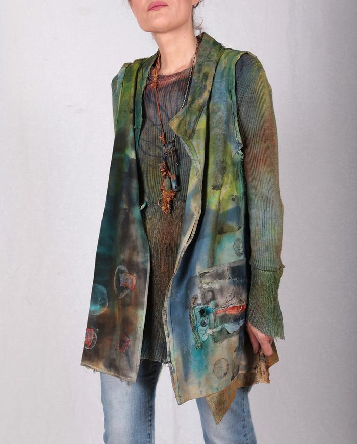 detailed artful patchwork brushed cotton vest