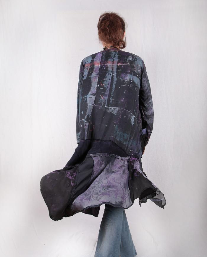 pieced mixed fabrics purple and black layering jacket