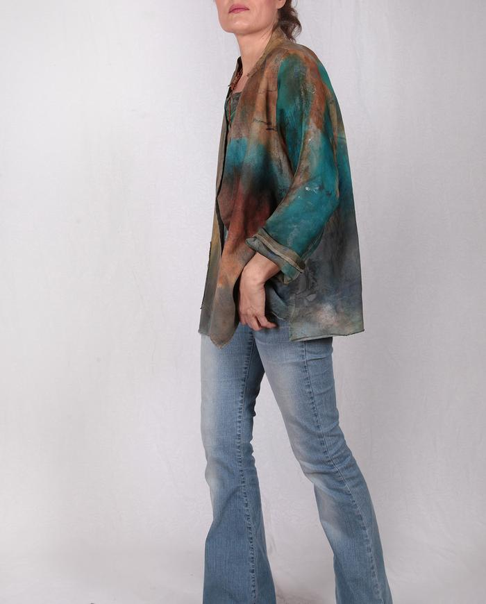 reversible silk and cotton hand-painted jacket