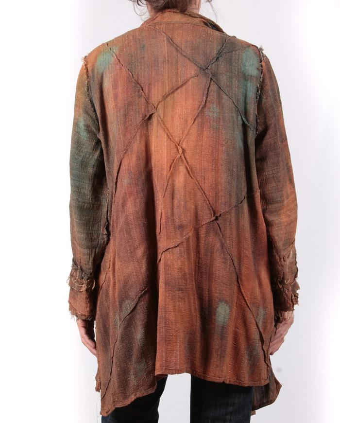 'copper odyssey' textured tussah silk lightweight one size jacket