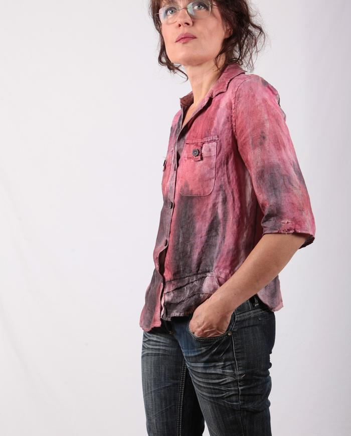 'pink wave' painted linen button-down top