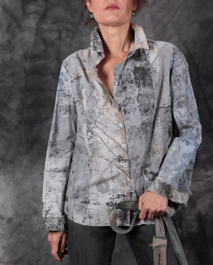'take me to the moon' gray button-down shirt/jacket