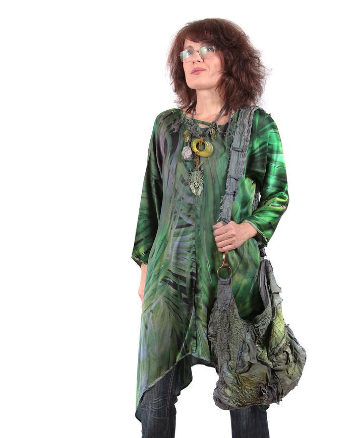 green-to-purple reversible loose-fitting silk tunic