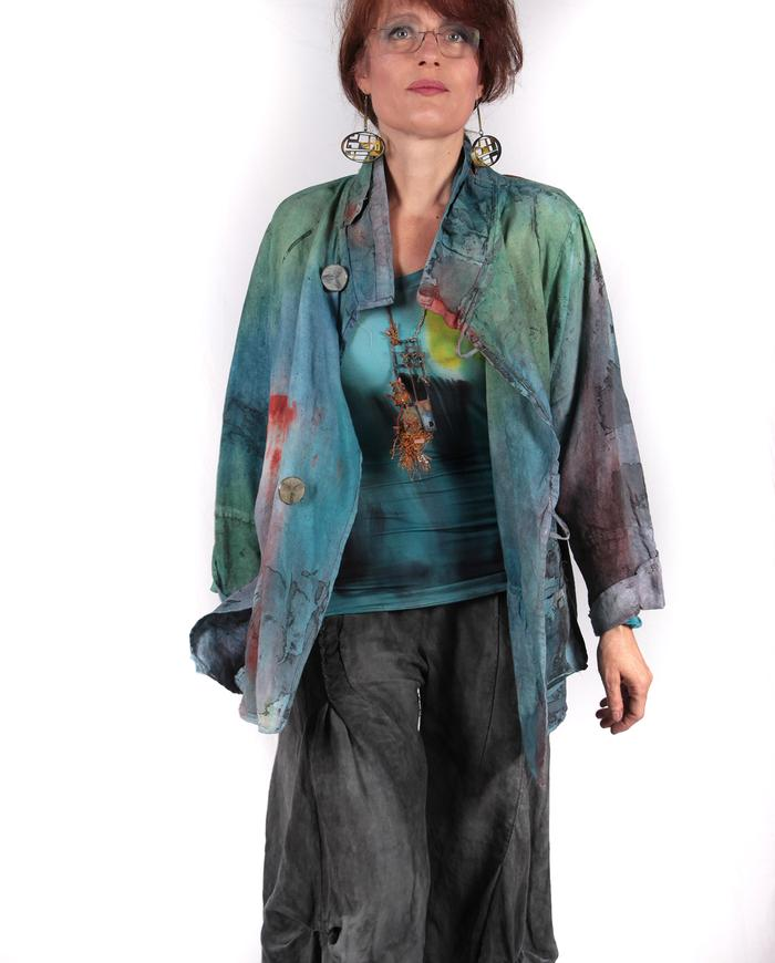 'summer soft' hand-painted linen jacket