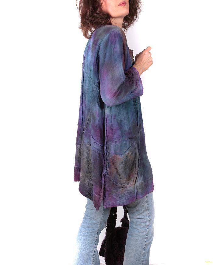 'aurora borealis' double gauze hand-painted top