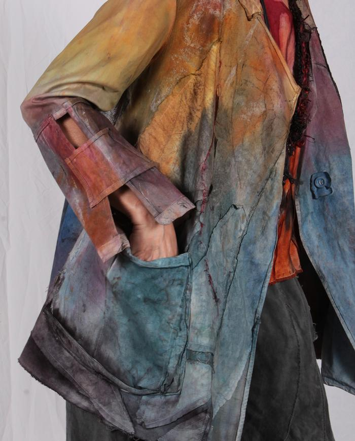 detailed multi-color mixed cottons hand-painted jacket