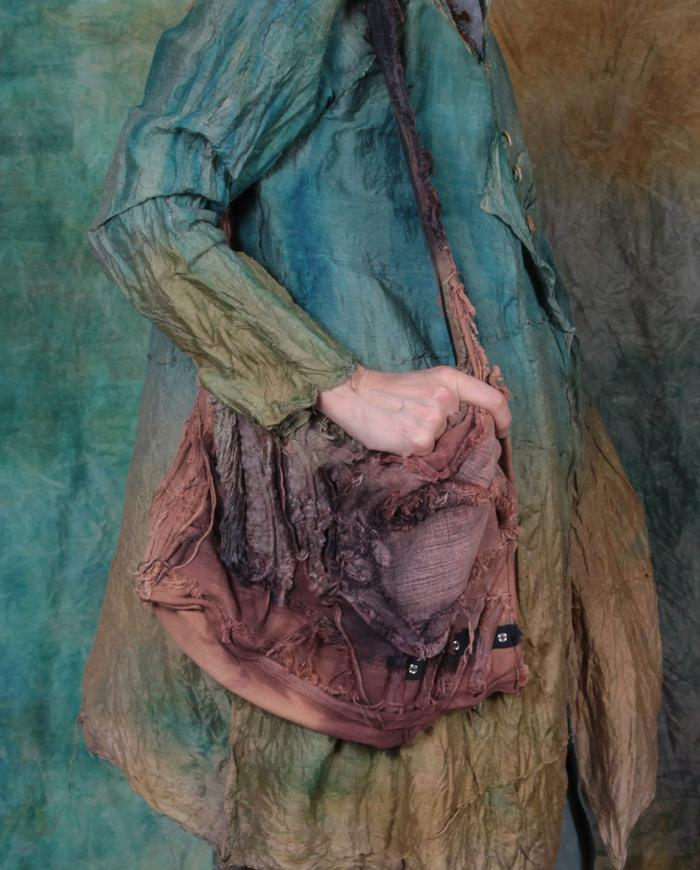 boho detailed canvas purse in distressed hand-painted earth tones
