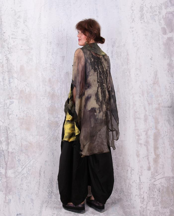 oversized hand-painted organza evening jacket