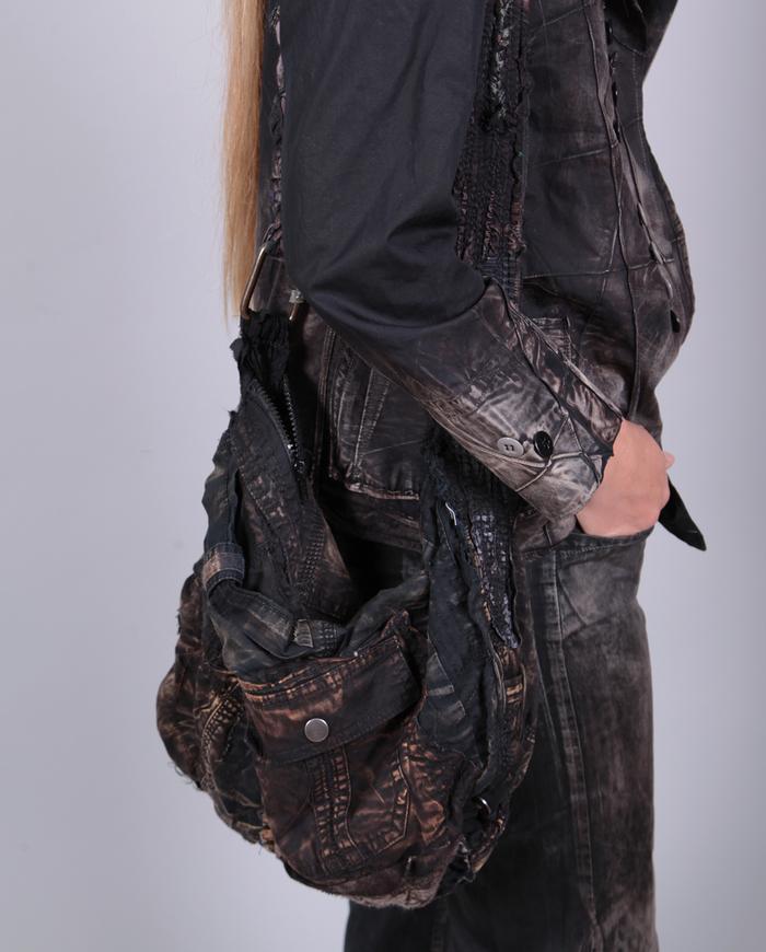 distressed hand textured black shoulder bag with pockets