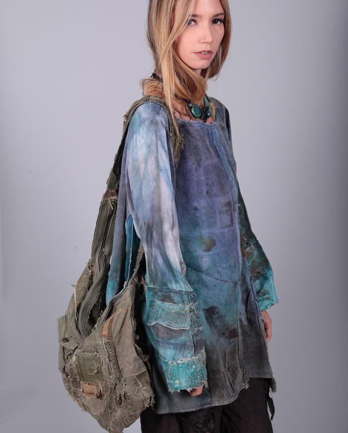 'summer tranquility' detailed distressed silk tunic